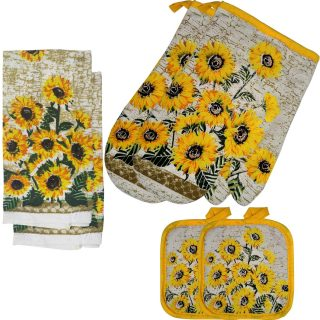 FSTIKO Farmhouse Sunflower Deocr Kitchen Linen Set 6Pcs Includes 2 Oven Mitts and 2 Pot Holders, 2 Dishcloth Kitchen Towel Set for Kitchen Cooking Baking BBQ (Set of 6 Piece)
