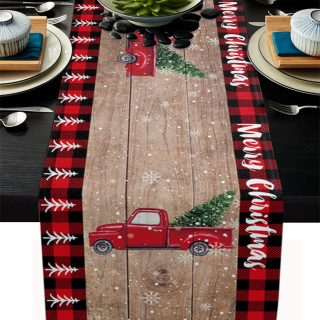 Linen Table Runner Dresser Scarves, Pine Fir Tree and Red Retro Truck Rectangle Tablecloths for Farmhouse Kitchen Dining Wedding Picnic Party 18x72in, Merry Christmas