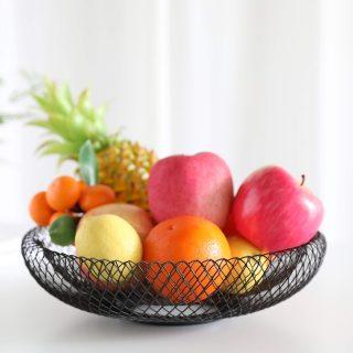 JHY DESIGN Metal Wire Fruit Basket,11.5''L Hemisphere Storage Baskets for Fruit,Snacks,Bread,Candy,Fashion Fruit Bowl for Living Room, Kitchen(Hemisphere Black)