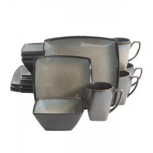 Gibson Elite Tequesta Square Reactive Glaze Stoneware Dinnerware Set, Service for 4 (16pcs), Taupe