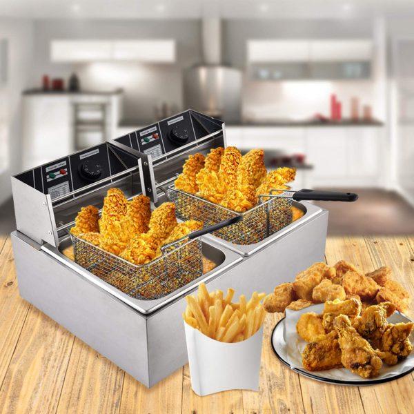 Frying Machine Electric Deep Fryer w/Basket Lid