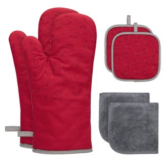 Velarnet 6 Pcs Oven Mitts and Pot Holders, Heat Resistant 500 Degrees Oven Gloves with Kitchen Towels Cotton Lining and Non-Slip Surface Safe for Baking, Cooking, BBQ (Red)