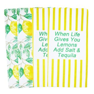 AllesCosy Towels Lemon Kitchen Towels Dish TowelTea Towel Hand Towel for Kitchen Dish Cloths 12x23.5 Inch 100% for Drying Dishes CottonLemon Tree Absorbent 4 Pack
