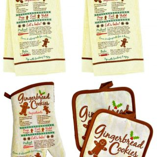 Christmas House Assorted Holiday Kitchen Linen Sets - 5 pc (Gingerbread Cookie)
