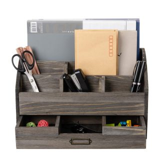 Distressed Rustic Wooden Office Desk Organizer 5 Compartment with 2 Drawer &Counter Desk Tabletop Desktop Mail Rack , Pens, Notebooks, Folders, Pencils and Office Supplies (Rock Grey)