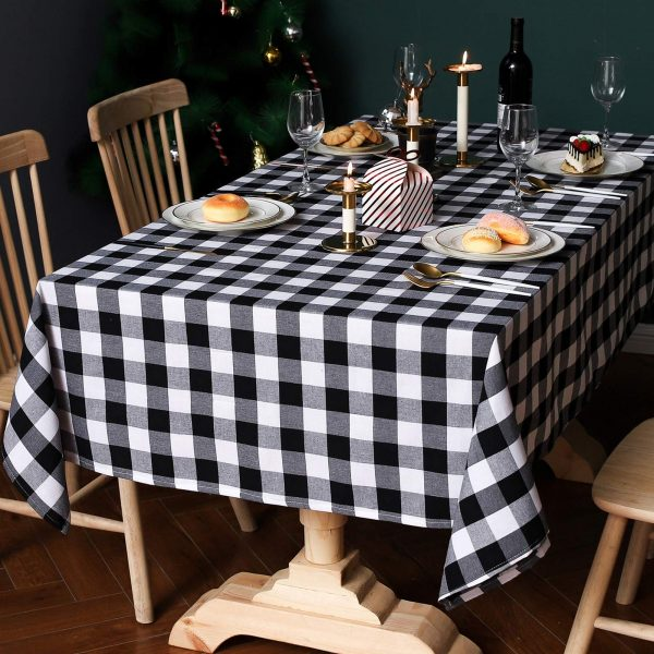 Cotton Linen Checkered Rectangle Tablecloth Rustic