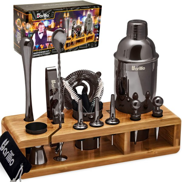 Black 23-Piece Bartender Kit Cocktail Shaker Set by BARILLIO: Stainless Steel Bar Tools With Sleek Bamboo Stand, Velvet Carry Bag & Recipes Booklet | Ultimate Drink Mixing Adventure