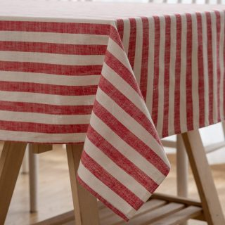 """Aquazolax Red and White Stripes Rectangle Tablecloth Farmhouse Home Decoration for Kitchen and Dining Room Table, 54"""" x 84"""", Red"""