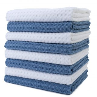 Polyte Ultra Premium Microfiber Kitchen Dish Hand Towel Waffle Weave, 8 Pack (16x28 in, Blue, White)