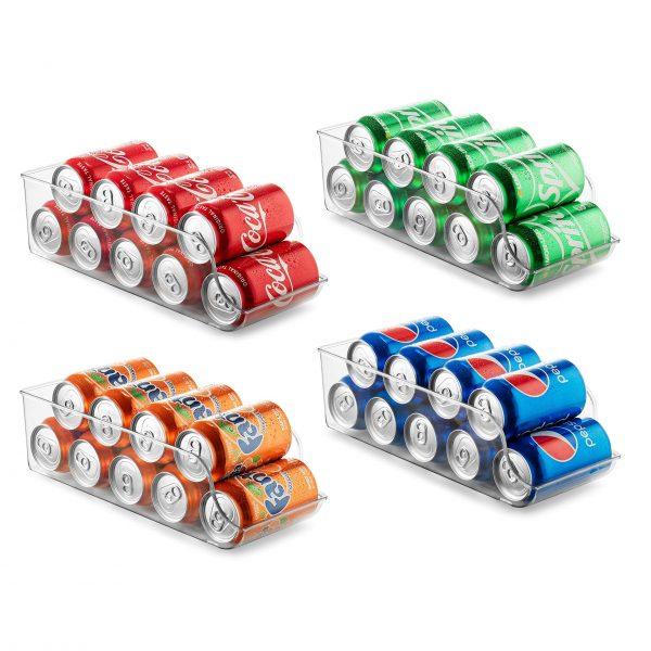 Set of 4 Refrigerator Organizer Bins Pop Soda Can Dispenser