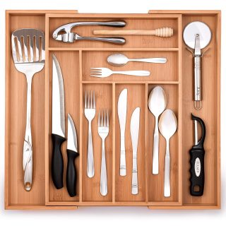 Zulay Expandable Bamboo Drawer Organizer - Adjustable Kitchen Drawer Organizer - Perfect Utensil Organizer For Silverware, Kitchen Knives, Flatware, and More