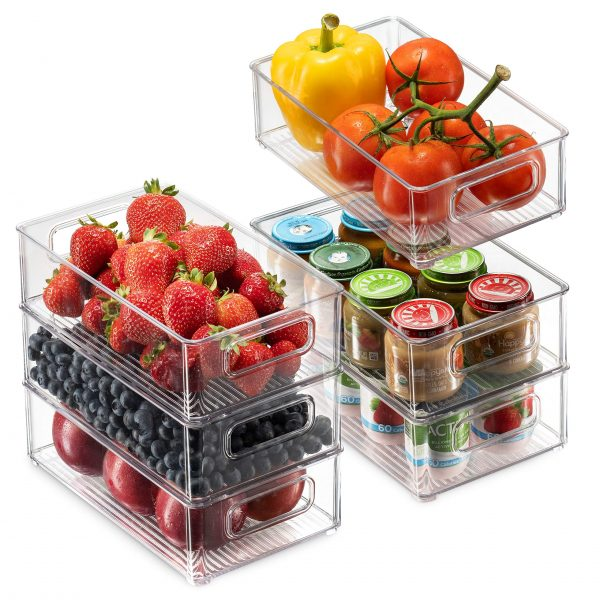 Stackable Fridge Organizers with Cutout Handles for Freezer