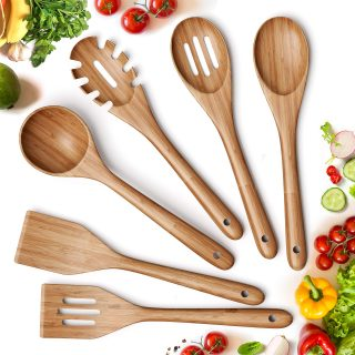 6 Piece Non-Stick Bamboo Wooden Utensils for Cooking