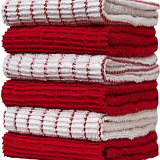 "Premium Kitchen Towels (16""x 28"", 6 Pack) – Large Cotton Kitchen Hand Towels –Chef Weave Design– 380 GSM Highly Absorbent Tea Towels Set with Hanging Loop – Red"