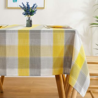 AmHoo Gingham Checkered Tablecloth Lattice Table Cloth Rectangle Table Covers for Kitchen Dining Room 60 x 84 Inch Yellow