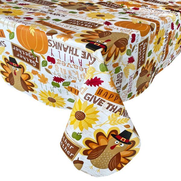 """Newbridge Happy Thanksgiving Turkey Vinyl Flannel Backed Tablecloth - Fun Whimsical Harvest and Fall Kitchen Dining Room Print Easy Care Wipe Clean Tablecloth, 60"""" x 102"""" Oblong/Rectangle"""