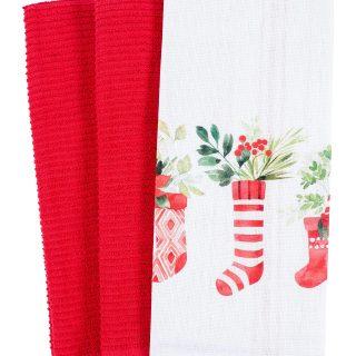 Mixed Flat and Terry Printed Dish Towel Set of 3