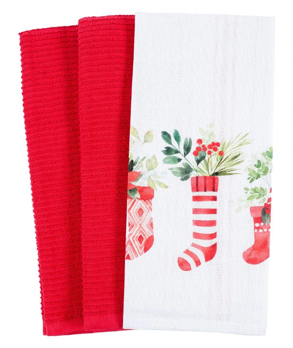Mixed Flat and Terry Printed Dish Towel Set of 3