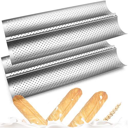 Bread Pans For Baking,Baguette Pans for Baking,French Bread Pans for Baking/ 2 Loaf,Baguette Tray Baking Nonstick Bread Pan, 2PCS