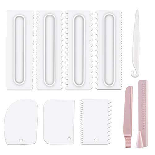 Cake Scraper Set of 9 Packs,Cake Decorating Comb and Icing Smoother, Plastic Sawtooth Cake Scraper Polishe, Decorating Cake Edge Kitchen Baking Mold DIY Tool