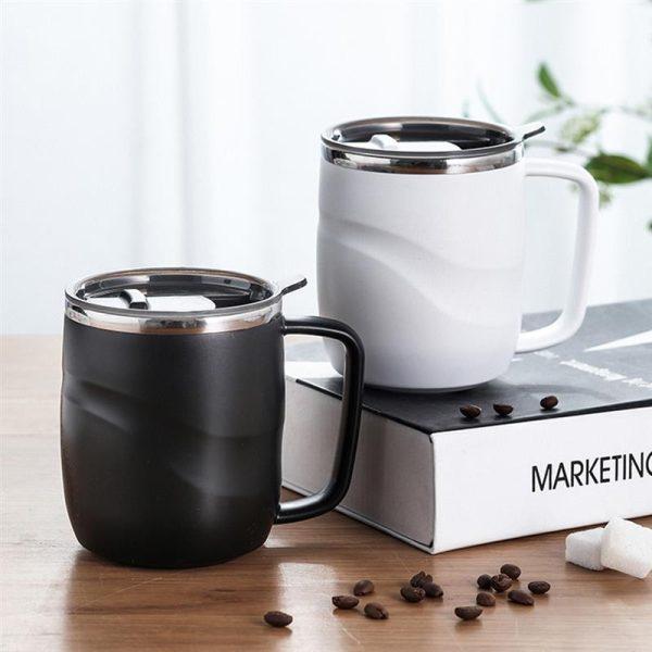 Black Stainless Coffee Mug With Sliding Lid